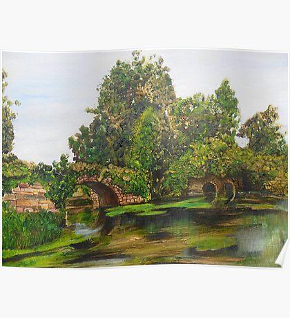 Warwick Castle's, Ancient Bridge. Warwickshire, England Poster