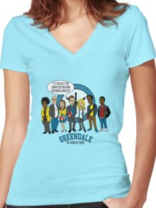 Greendale the Animated Series Women's Fitted V-Neck T-Shirt