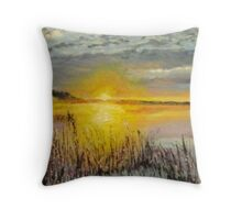 Sunrise over rushes Throw Pillow