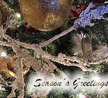 Frosty Branches, Gold Baubles & Xmas Tree Lights Ornaments ~ Season's Greetings Greeting Card ~ Holiday Season Decorations  by Chantal PhotoPix