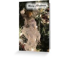 Christmas Angel Ornament Greeting Card ~ Silver Xmas Ball w/ Tree Lights ~ Religious Holiday Decor Greeting Card
