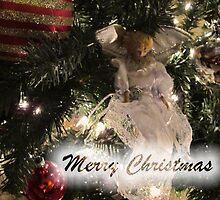 Merry Christmas Greeting Card, Silver Xmas Ball w/ Tree Lights ~ Christmas Angel Ornaments ~ Religious Holiday Season by Chantal PhotoPix