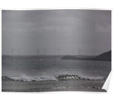 Wind Power Turbines - seen from Marrawah Beach Poster