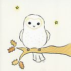 White Barn Owl on Autumn Oak Tree with Stars by zoel