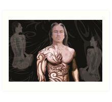 man with two women Art Print