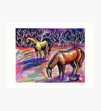 Autumn Morning With Horses Art Print