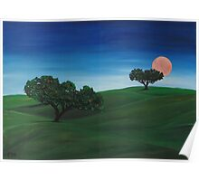 """Landscape with moon""  Poster"