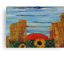 """Landscape with sunflowers"" Canvas Print"