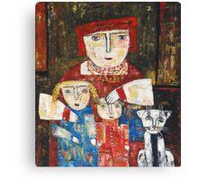 """Mammy, children and cat""  Canvas Print"