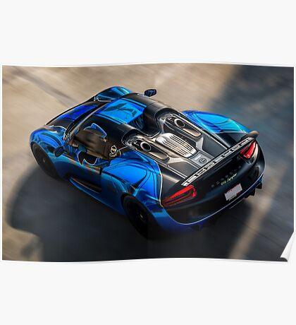 Porsche 918 Spyder in Motion Poster