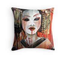 Geisha in Autumn Rain: The Innocent Concubine Throw Pillow