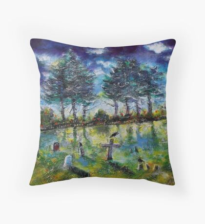 Old Cemetery at Ascot Corner Quebec Throw Pillow