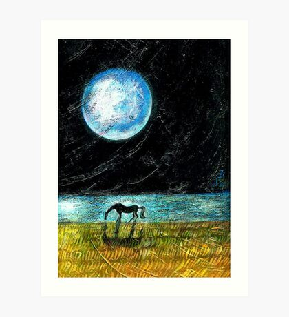 Fool Moon and a Horse Art Print