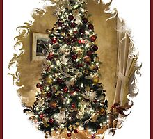 Golden Holiday Display Frame ~ Decorative Christmas Tree w/ Shiny Ornaments & Xmas Lights in a Warm Atmosphere by Chantal PhotoPix