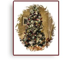 Golden Holiday Display Frame ~ Decorative Christmas Tree w/ Shiny Ornaments & Xmas Lights in a Warm Atmosphere Canvas Print
