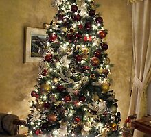 Golden Holiday Display ~ Decorative Christmas Tree w/ Shiny Ornaments & Xmas Lights in a Warm Atmosphere by Chantal PhotoPix