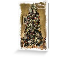 Frame. Warm Christmas Scene Atmosphere ~ Shiny Ornaments & Xmas Lights on a Large Xmas Tree ~ Holiday Season  Greeting Card