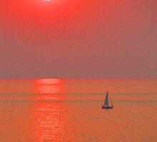 A boat in a red ocean - Una lancha en un oceanó rojo, Puerto Vallarta, Mexico by PtoVallartaMex