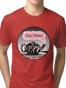 "Zebra Print Teapot Pink Steam ""Tea Time"" Design Tri-blend T-Shirt"