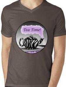 """Zebra Print Teapot Purple Steam """"Tea Time"""" Design Mens V-Neck T-Shirt"""