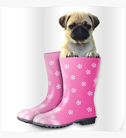 Pug in pink boots Poster