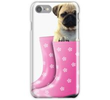 Pug in pink boots iPhone Case/Skin