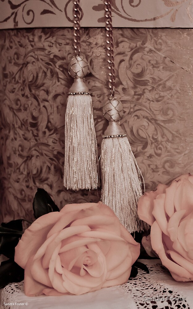 Tassels, Roses, Lace And Hat Box by Sandra Foster