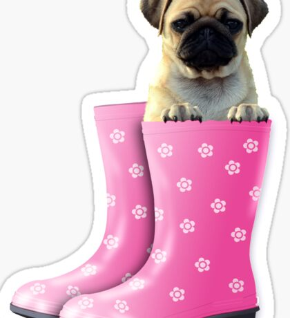 Pug in pink boots Sticker