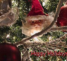 Jolly Saint Nick Tree Trimming - Christmas Ornaments w/ Red Xmas Balls, Lights & Frosted Branch Garland  by Chantal PhotoPix
