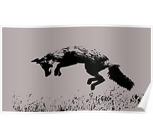 pouncing fox playing in the meadow Poster