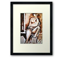 My daughter sitting Framed Print