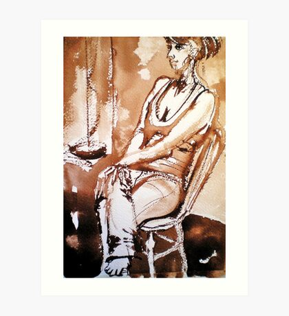 My daughter sitting on a chair Art Print