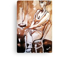 My daughter sitting on a chair Canvas Print