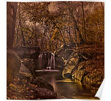 Autumn At The Waterfall In the Ravine, Central Park Poster