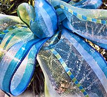 Blue & Silver Christmas Bow w/ Gold Mesh Garland, White Feathers & Xmas Lights ~ Classy New Year Holiday Scene by Chantal PhotoPix