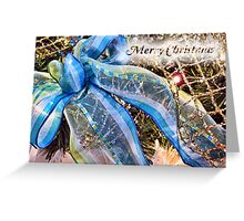Christmas Holiday Gifts ~ Blue & Green Glitter Ribbon w/ Gold Mesh Garlands, White Feathers & Xmas Lights Greeting Card