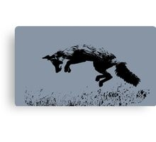 pouncing fox blue Canvas Print
