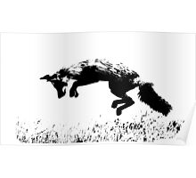 pouncing fox in the meadow Poster