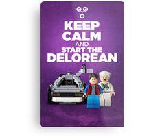 Keep Calm and start the delorean Metal Print