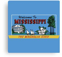 Welcome to Mississippi Sign, Vintage 50s Canvas Print