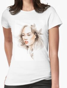 Oriental girl , watercolor Womens Fitted T-Shirt