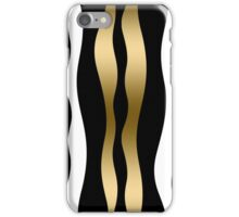 Abstract Zebra Stripes In Black And White Gold Accent iPhone Case/Skin