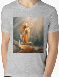 Golden Mermaid Mens V-Neck T-Shirt