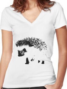 hedgehog Women's Fitted V-Neck T-Shirt