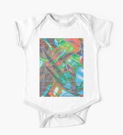 Colorful Abstract Stained Glass One Piece - Short Sleeve