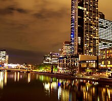 Melbourne at Night 1963 by Kayla Halleur