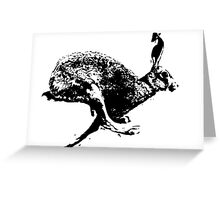 bounding hare white Greeting Card