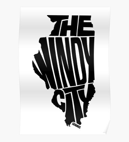 Chicago: The Windy City Black Poster