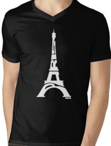 Paris Eiffel Tower White Mens V-Neck T-Shirt