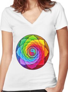 Healing Lotus Women's Fitted V-Neck T-Shirt